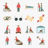 Na obrazku znajdują się kolorowe symbole związane z wszelkimi rodzajami niepełnosprawności.