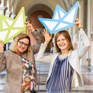 Anna Janicka, dyr. ŁUD PŁ (od prawej) i Agnieszka Michałowska-Dudkiewicz podczas spotkania w Wiedniu, foto. Zsolf Marten