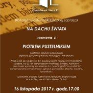 Zaproszenie na spotkanie z Piotrem Pustelnikiem w Przedsionku Literackim.