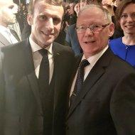 Rektor PŁ, prof. Sławomir Wiak i Prezydent Francji Emmanuel Macron