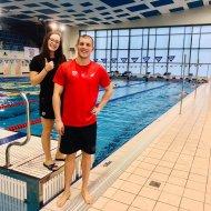 Na zdjęciu Bartłomiej Lassek i Zuzanna Dzwonnik z sekcji pływania KU AZS PŁ.  Foto. Łukasz Przybysz