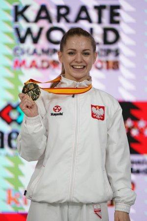Dorota Blaszczyk studentka PŁ, złota medalistka MŚ w karate. foto. Xavier Servolle