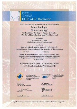 Eur Ace bachelor dla biotechnologii na PŁ