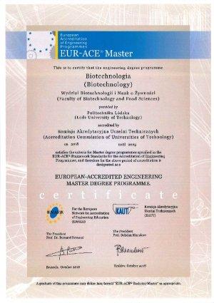 Eur -Ace certyfikat europejski dla biotechnologii na PŁ
