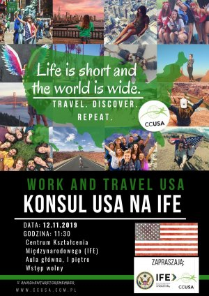 Plakat na spotkanie z konsulem USA na PŁ