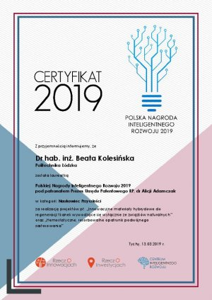 Certyfikat dr hab. inż. Beata Kolesińska z PŁ