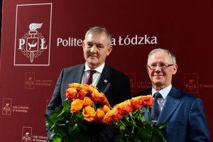 prof. Krzysztof Jóżwik , rektor elekt i prof. Sławomir Wiak, rektor PŁ, podczas wyborów fot. Jacek Szabela