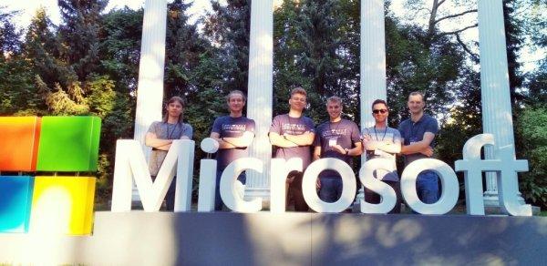 Drużyna studentów z PŁ na konkursie Microsoft Imagine CUP 2018.