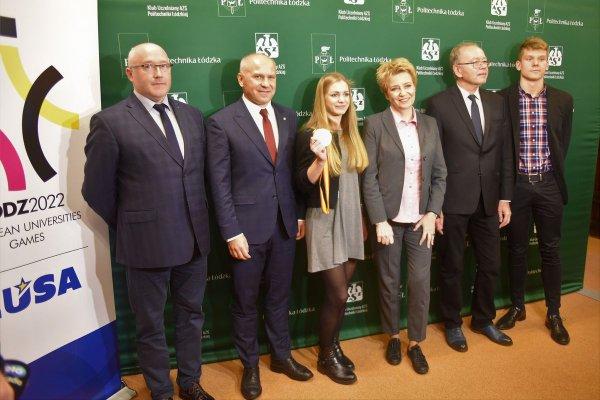 Uczestnicy konferencji prasowej w rektoracie PŁ, dotyczącej organizacji EUSA 2022, foto. Filip Podgórski