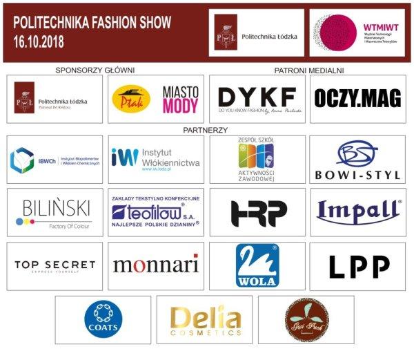 Loga sponsorów Politechnika Fashion Show.
