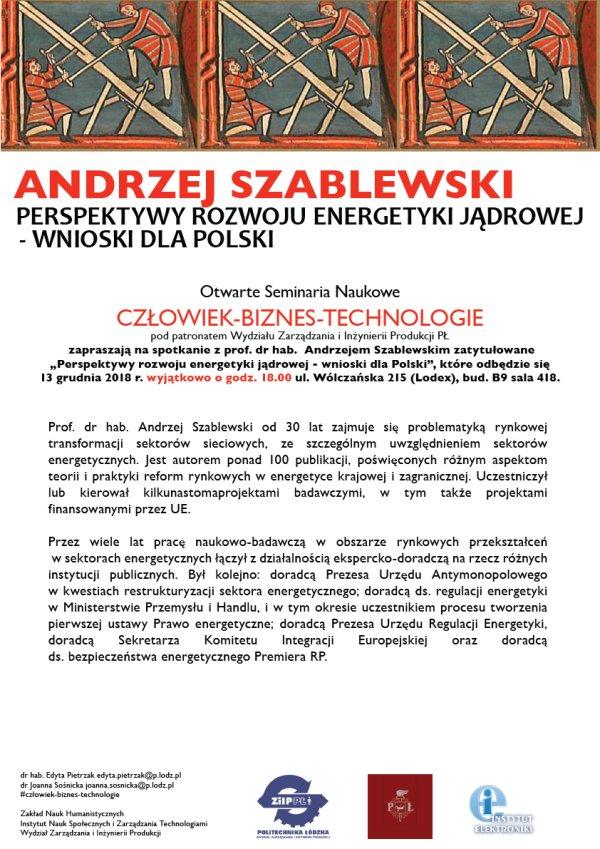 Plakat na seminarium na PŁ z prof. Andrzejem Szablewskim