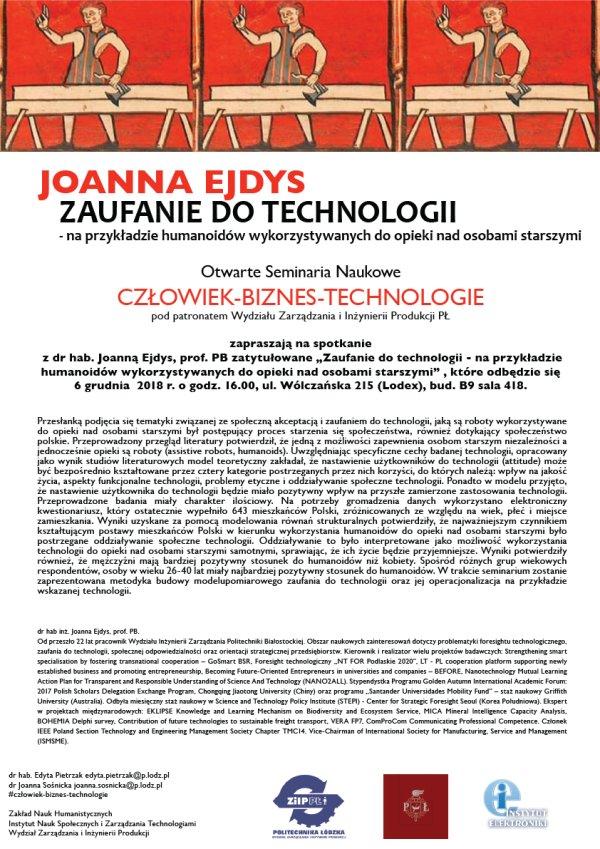 Plakat na seminarium na PŁ z dr hab. Joanną Ejdys.