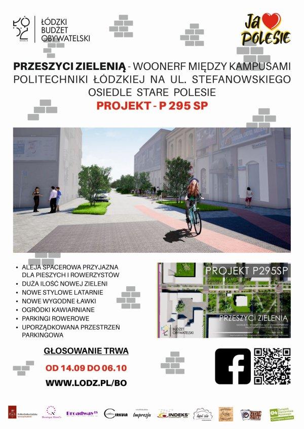 Plakat woonerfu na ul. Stefanowskiego, łączący kampsy A i B Politechniki Łódzkiej