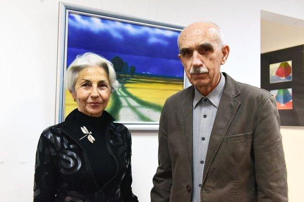 Prof. Marian Kępiński z małżonką Marią na wernisażu w PŁ, fot. Jacek Szabela