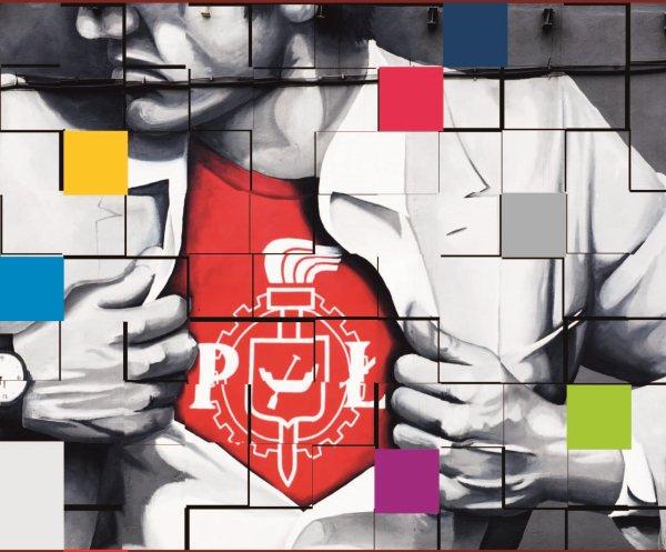 Grafika z muralem na Politechnice Łódzkiej