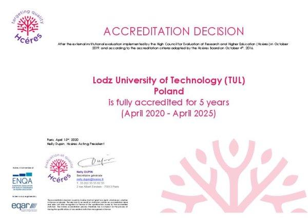 Akredytacja HCERES dla Politechniki Łódzkiej