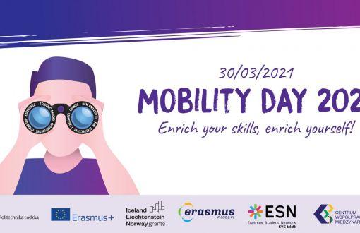 Grafika promująca Mobility Day 2021 na PŁ