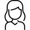 Icon: black outline of a woman on a white background.